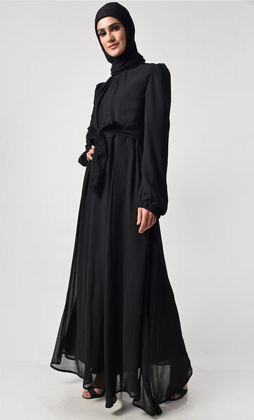 Classic Black Puff Sleeve Everyday Abaya - EastEssence.com
