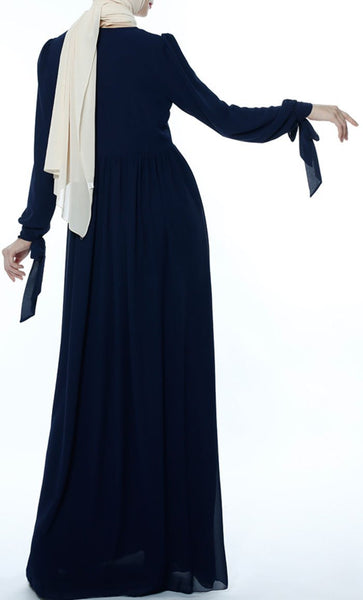 Classic Gathered Casual Abaya - Navy Blue - *Size Up* - EastEssence.com