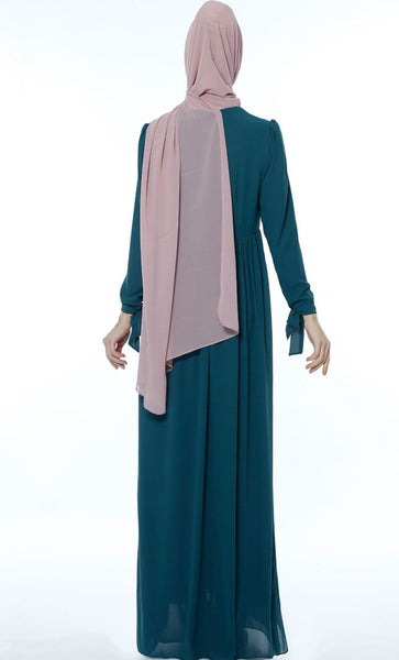 Classic Gathered Casual Abaya - Teal Blue - *Size Up* - EastEssence.com