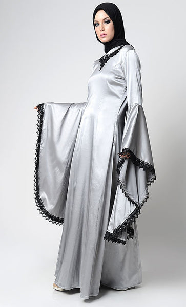 Classic Gray Embroidered Luxe Abaya - EastEssence.com