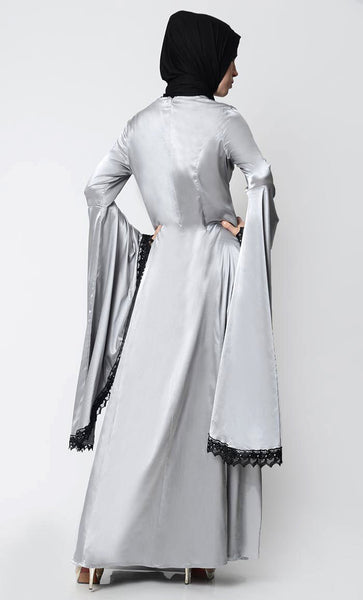 Classic Gray Embroidered Luxe Abaya - Teal - EastEssence.com