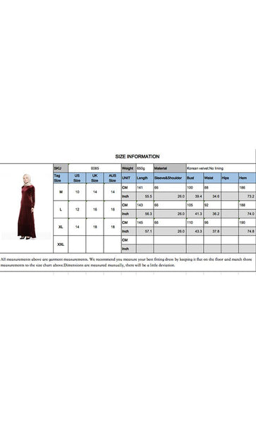 Classic Velvet Abaya With Pearls (Red)- *Size Up* - EastEssence.com