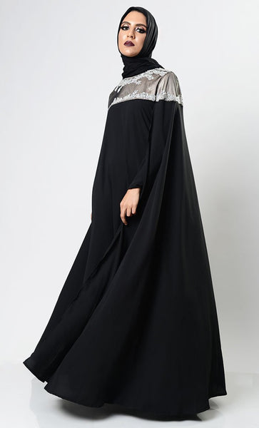 Classy Black Caped Abaya Dress - EastEssence.com