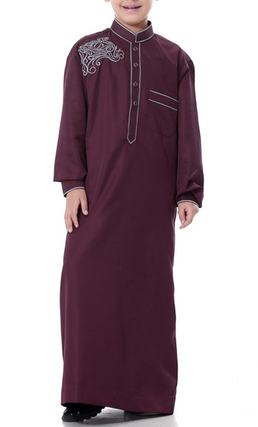 Classy Detailed Full Sleeves Boys Thobe (Wine Red)-*Size Up* - EastEssence.com