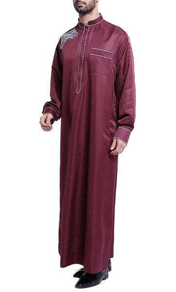 Classy Detailed Full Sleeves Men's Thobe (Wine Red)-*Size Up* - EastEssence.com