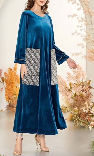 Clear Sky Printed Paneled Abaya-Blue - EastEssence.com