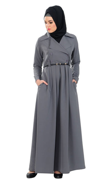 Coat style button down everyday wear abaya dress - EastEssence.com