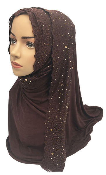 Floral Lace Embroidered Hijab Stole