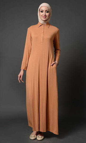 Collared Everyday Wear Basic Abaya Dress - EastEssence.com