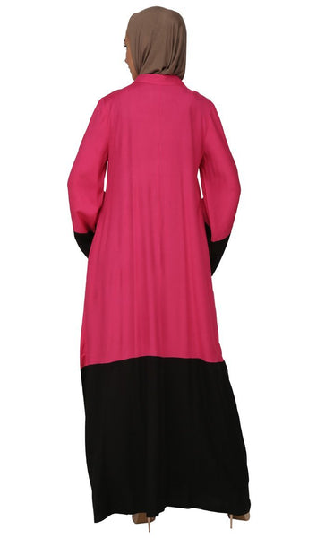 Color Block Pattern Dual Tone Long Abaya Dress - EastEssence.com