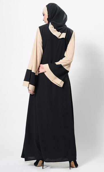 Color Block Wrap Around Abaya Dress And Hijab Set - EastEssence.com