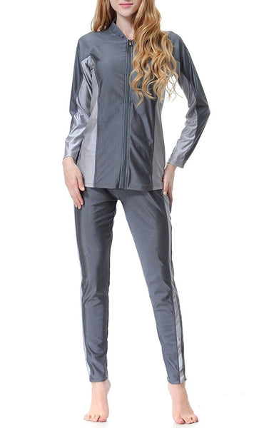 Color Blocked Swimwear Burkini (Gray)-*Size Up* - EastEssence.com
