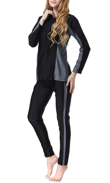 Color Blocked Swimwear Burkini(Black)-*Size Up* - EastEssence.com