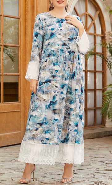 Color Of Floral Summer Printed Plus Size Abaya- *Size Up* - EastEssence.com
