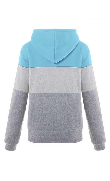 Color Story Fleece Hoodie-Blue + Grey - *Size Up* - EastEssence.com