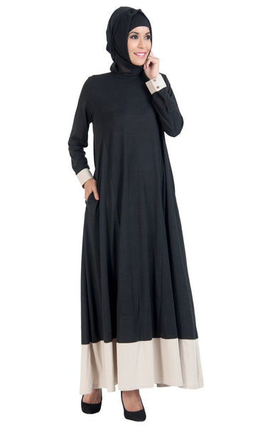 Colorblock Hem Flared Everyday Wear Abaya Dress - EastEssence.com