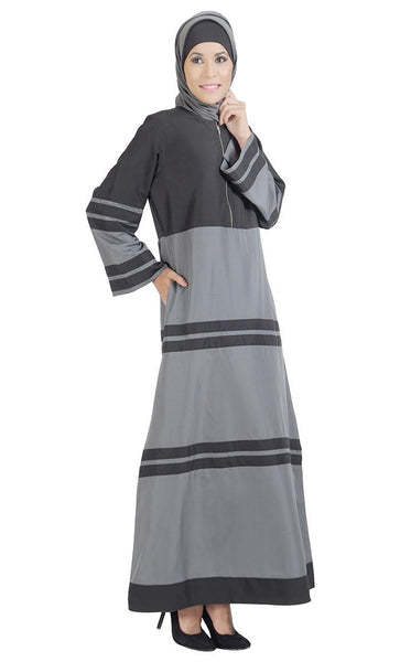 Colorblock stripes detail flared everyday wear abaya dress - EastEssence.com