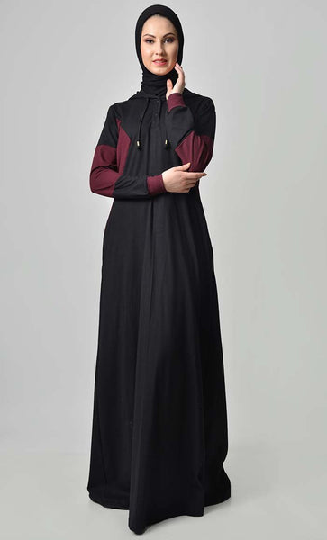 Comfy Color Contast Jersey Abaya - Black - EastEssence.com
