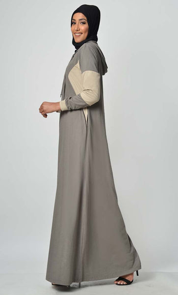 Comfy Color Contast Jersey Abaya - Grey - EastEssence.com