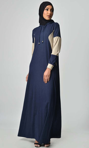 Comfy Color Contast Jersey Abaya - Navy - EastEssence.com