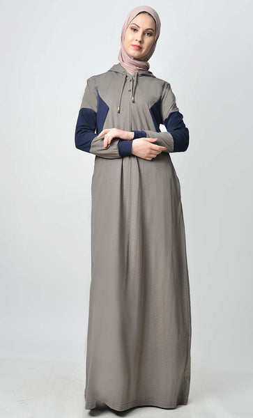 Comfy Color Contast Jersey Everyday Abaya - EastEssence.com