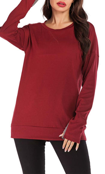 Comfy Everyday Tee-Wine Red - EastEssence.com