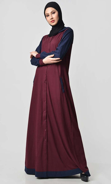 Comfy Hooded Front Open Jersey Abaya - Maroon - EastEssence.com
