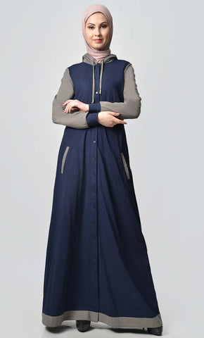 Comfy Hooded Front Open Jersey Abaya - Navy - EastEssence.com