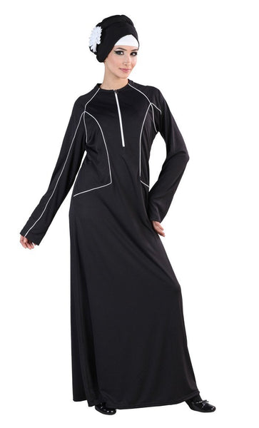Contarst Trims And Zipper Detail Everyday Abaya Dress - EastEssence.com