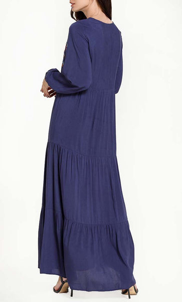 Contrast Bright Embroidered Abaya - Blue - *Size Up* - EastEssence.com