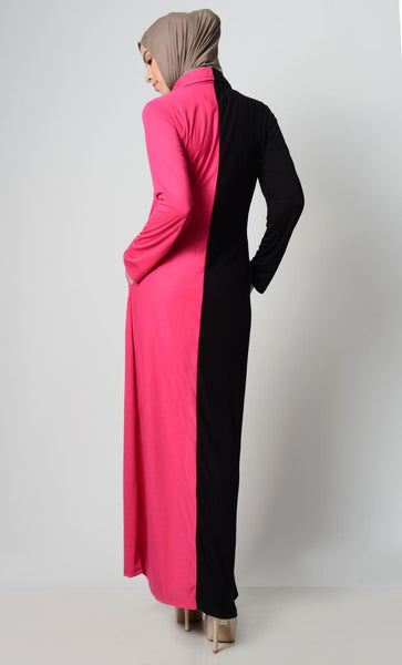 Contrast Bright Panelled Abaya - EastEssence.com