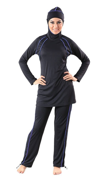 Contrast Color Detail Swimwear Burkini And Pants Set - EastEssence.com