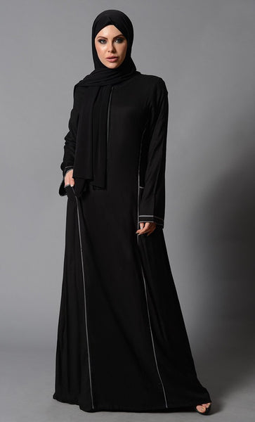 Contrast Color Piping And Metallic Zipper Detail Abaya Dress - EastEssence.com