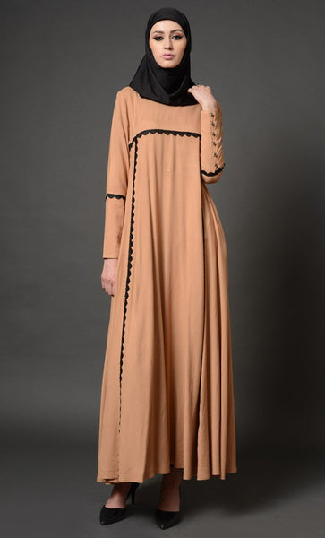 Contrast Color Trims And Fancy Buttoned Cuffs Abaya Dress - EastEssence.com