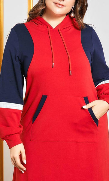 Contrast Colorblock Sports Abaya With Pocket-Red - *Size Up* - EastEssence.com