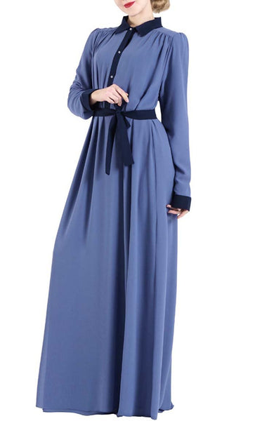 Contrast Detail Abaya dress-Blue - EastEssence.com