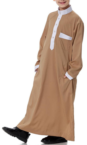 Contrast Detailed Full Sleeves Boys Thobe (Camel)-*Size Up* - EastEssence.com