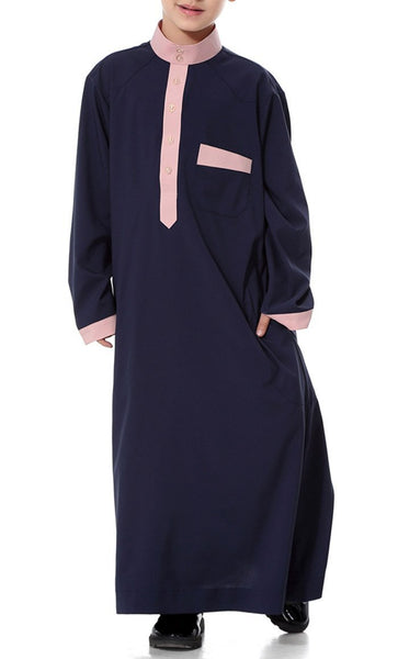 Contrast Detailed Full Sleeves Boys Thobe (Navy Blue)-*Size Up* - EastEssence.com