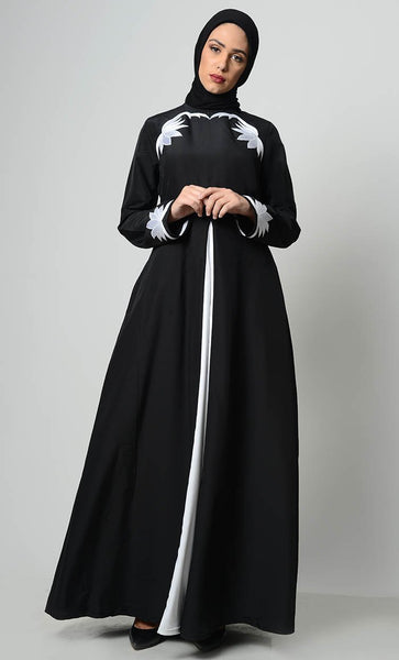 Contrast Embroidered Grace Abaya-Black - EastEssence.com