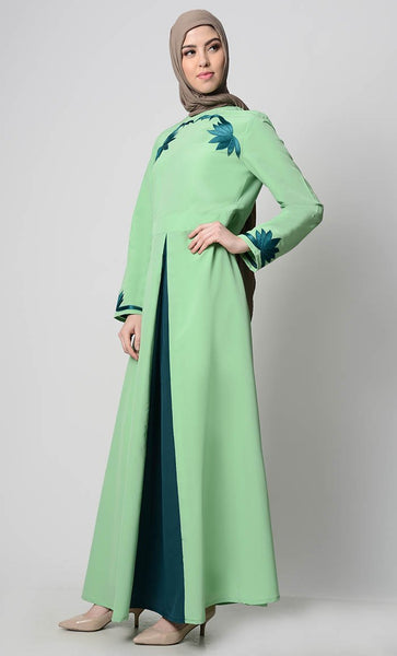 Contrast Embroidered Grace Abaya-Mint Green - EastEssence.com