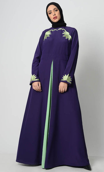 Contrast Embroidered Grace Abaya-Purple - EastEssence.com