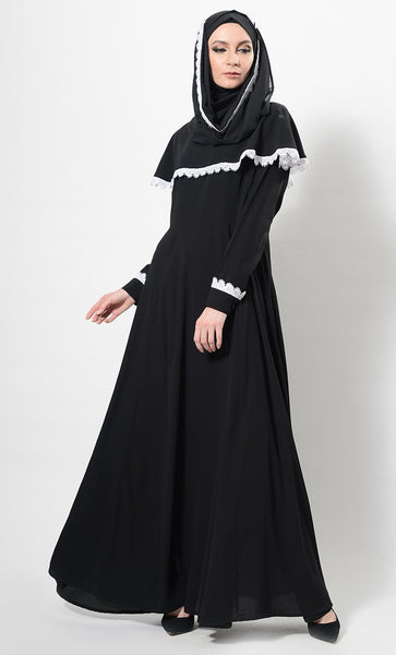 Contrast Lace Trims Detail Abaya Dress And Hijab Set - EastEssence.com