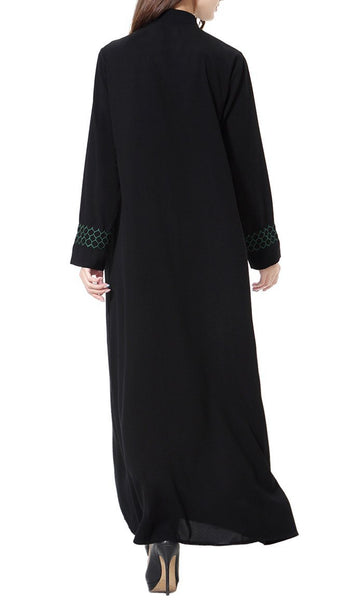 Contrast Paneled Casual Wear Everyday Abaya Dress - EastEssence.com