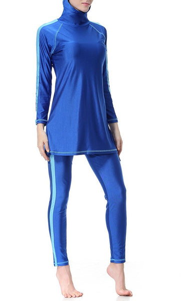 Contrast Panelled Sleeves And Trims Detail Swimwear Burkini - EastEssence.com