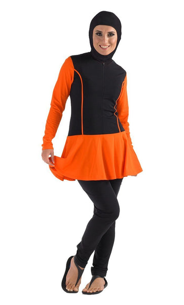 Contrast Panels And Front Zipper Swimwear Burkini Two Piece Set - EastEssence.com