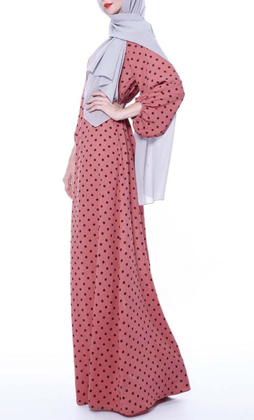 Contrast Polka Basic Abaya - Brick Red - *Size Up* - EastEssence.com