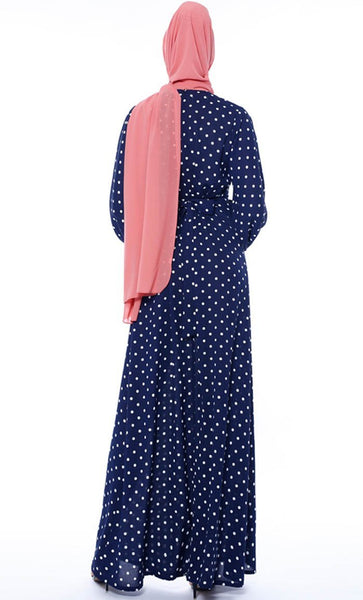 Contrast Polka Basic Abaya - Navy - *Size Up* - EastEssence.com