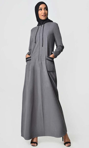 Contrast Stripe & Hood Detail Abaya Dress - Grey - EastEssence.com
