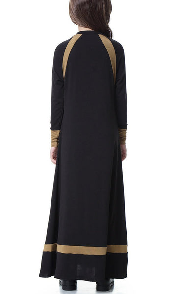 Contrast Style Full Sleeves Girls Abaya (Black)-*Size Up* - EastEssence.com