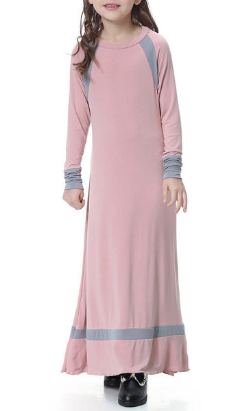 Contrast Style Full Sleeves Girls Abaya (Dark Pink)-*Size Up* - EastEssence.com